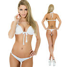 PUSH UP BIKINI ZUM BINDEN WEISS S M SEXY BRASIL TANGA MADE IN EU SIXTY6 SWIMSUIT