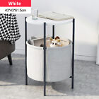 Modern Round Coffee Table Metal Sofa Bedside Desk w/Storage Basket Furniture