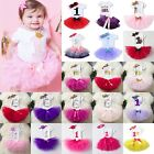 Baby Girl First 1st Birthday Outfit Tutu Skirts Dress  Headband Cake Party Gift
