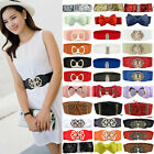 Women Girl Wide Stretch Elastic Waist Belt Solid Color Flowers Waistband Fashion