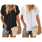 Women  s Lace Crochet Blouse V Neck Hollow Out Short Sleeve Tops Casual Pullover