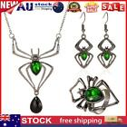 Gothic Women Jewelry Set Emerald Exaggerated Spider Pendant Necklace Rings
