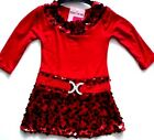3-4 Years New Red with Black Sequins Party Dress Outfit