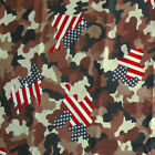 "POLYECOTTON BLENDED FABRIC CAMO CAMOUFLAGE AMERICAN FLAG ""STARS & STRIPES"" 44""W"