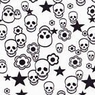 POLYCOTTON CLOTHES FABRIC EXOTIC FUNKY SKULL SKELETON