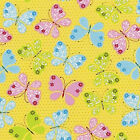 COTTON CURTAIN UPHOLSTERY FABRIC CUTE BUTTERFLY YELLOW