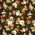 CANVAS COTTON FABRIC SHABBY ROSE FLORAL CHOCOLATE BROWN