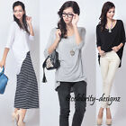 tp17S Celebrity Fashion Slouchy 3/4 Sleeve Drape Asymmetrical Hem T-shirt