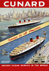 S2 Vintage Cunard Queen Elizabeth Liner Cruise Ship Travel Poster A1 A2 A3