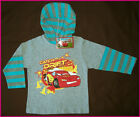 DISNEY CARS Lightning McQueen Awesome Long Sleeve Top wth Hood Sz 3 4 6 or 8 NEW
