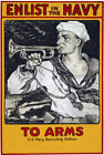W53 Vintage WWI 'To Arms' Enlist In The Navy War Poster Print WW1 - A1 A2 A3