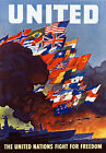 2W49 Vintage WWII United Nations Allies World War 2 Wartime Poster WW2 A1 A2 A3