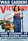 2W85 Vintage WWII War Victory Garden Grow Your Own WW2 Poster A2 A3