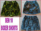 BEN10 Sz 6 - 8 Satin Boxer Shorts - Awesome BEN 10 BOYS BOXERS Green or Blue NEW