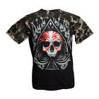 Tribal Skull Spade Tie Dye Red & Black Printed Short Sleeved Tshirt