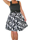 NEW (3932) 50's Rockabilly dress + belt black white floral sizes 8 / 10