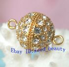 A Grade Crystal Inlayed Gold Plated Jewelry Clasp 14mm
