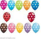 """10 x Qualatex 11"""" Polka Dots Party Balloons for Helium or Air fill"""