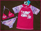 GIRLS 3 Pc RASHI SWIMWEAR Sz 3 or 4 TOGS - Rash & Bikini Set - NEW  Factory 2nds