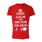 Darkside Clothing Keep Calm Aim For The Head Zombies Red Short Sleeved Tshirt