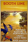TW94 Vintage Booth Line Portugal Brazil Amazon Cruise Travel Poster A1/A2/A3