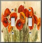 Light Switch Plate Cover - Floral - Orange Poppy Flowers - Poppies