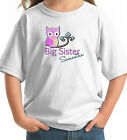 PINK OWL ON BRANCH BIG SISTER T-SHIRT WITH NAME white grey pink