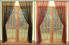 A PAIR OF WOVEN ORGANZA SLOT TOP / ROD POCKET CURTAIN PANELS IN RED OR BLACK