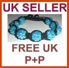 Shamballa Bling Friendship L-Blue Crystal Disco 9 Ball Bracelet 12mm Free UK P+P