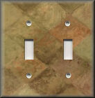Light Switch Plate Cover - Tuscan Tones Block - Rustic Brown And Sage Green