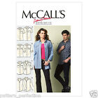 McCall's 6613  Sewing Pattern to MAKE Misses' Mens Shirts Long/Short Sleeves