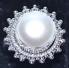 925 Sterling SILVER Rings Mabe White PEARL Solitaire Ring Unique Jewellery; N, O