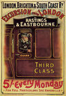 TW36 Vintage London Hastings & Eastbourne From London Railway Travel Poster A4