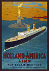 TW74 Vintage Holland America Line Cruise Ship Travel Poster Re-Print A4