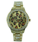 Prince London NY leopard animal print metal jewelled watch jewel bezel
