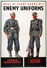 WB12 Vintage WW2 Spot German Enemy Uniforms British WWII War Poster A4