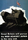 WB1 Vintage WW2 Britain Tank War Against Japan British WWII Poster Re-Print A4