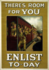 WA12 Vintage WWI Theres Room For You British Recruitment War Poster WW1 A1 A2 A3