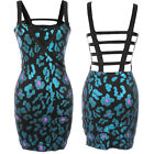 Iron Fist Family Jewels Blue Black Leopard Animal Print Metallic Strap Dress
