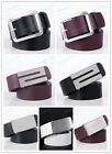 New Women's Men's PU Leather Silver Metal Buckle Casual dress Belt 40-41.5 Inch