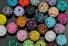 2x 8mm Half-drilled Crystal Pave Disco Ball Round Shamballa Beads  for Earrings