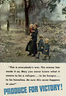 Vintage WWII Produce For Victory Refugee War WW2 Poster Re-Print A4 3W2