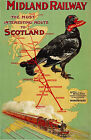 TX83 Vintage Midland Railway To Scotland British Travel Poster Re-print A4