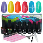 6PCS Nail Art Color Soak Off Polish Gift Set UV Glitter Gel Top Coat Primer Tool
