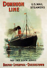 TX150 Vintage Dominion Line U.S Steamers Cruise Shipping Travel Poster Print A4