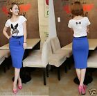 New Korea Woman Hot Royal Blue Candy Color Slim Cut Straight Pencil Skirt