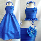 New SP7 Royal blue children pageant  flower girl  dress size18m 2 4 6 8 10 12 14