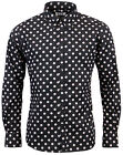 NEW SIXTIES MENS RETRO MOD PENNY DOT POLKA DOT SHIRT: Vintage Indie 60s BLACK
