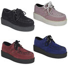 KIDS GIRLS LACE UP FAUX SUEDE PUNK GOTH HIGH PLATFORM FLAT CREEPERS SHOES  10-2