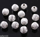 Silver plated Corrugated spacer Jewelry findings loose beads charms 6mm 8mm